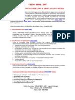 Jasa Konsultan OHSAS 18001 / Konsultan K3 / SMK3 / Penyusunan K3L / Penyusunan CSMS / Dokumen K3L