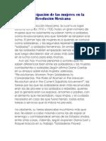 La participación de las mujeres en la Revolución Mexicana