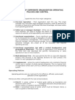 Key Aspects of Corporate Organization Operating Policies and Control