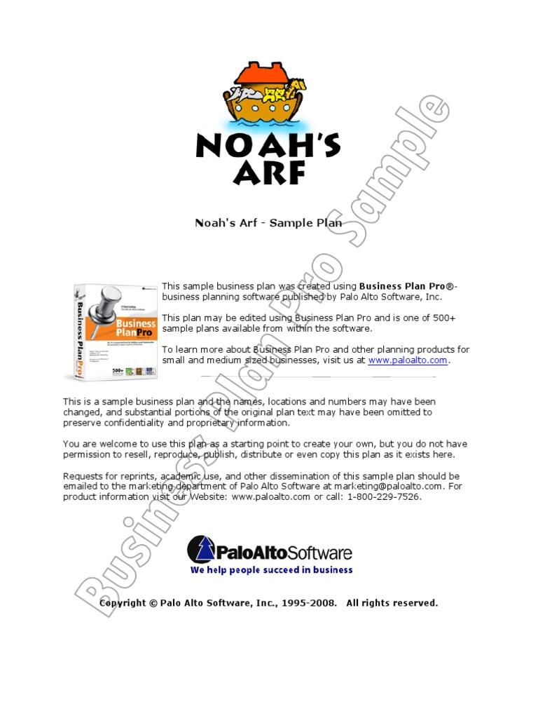 Business Plan Pro Sample Plan Noahs Arf Expense – Sample Business Plans