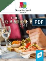 Gastgeberverzeichnis Oberpfälzer Wald 2016