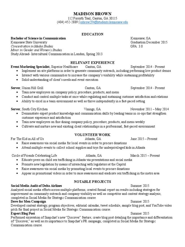resume | Digital & Social Media | Social Media