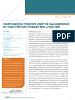 Shadac Brief Health Insurance Transitions Under the ACA Experienced by People Previously Insured in Non-Group Plans