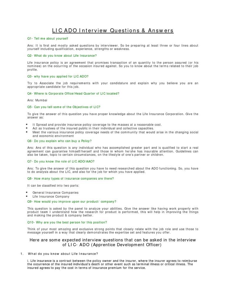 LIC ADO Interview Questions   Life Insurance   Insurance