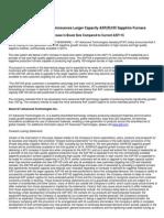 GT Advanced Technologies Announces Larger Capacity ASF(R)165 Sapphire Furnace