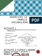 Exercices LA Famille Vocabulaire