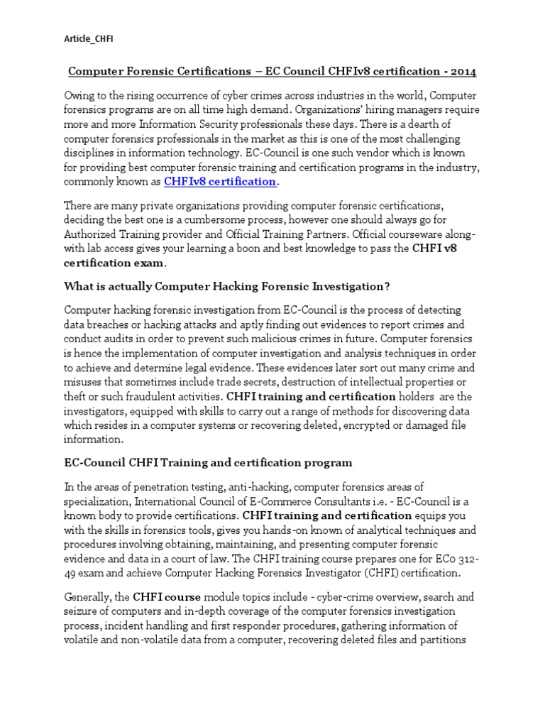 Article Chfi V8 Computer Forensics Online Safety Privacy