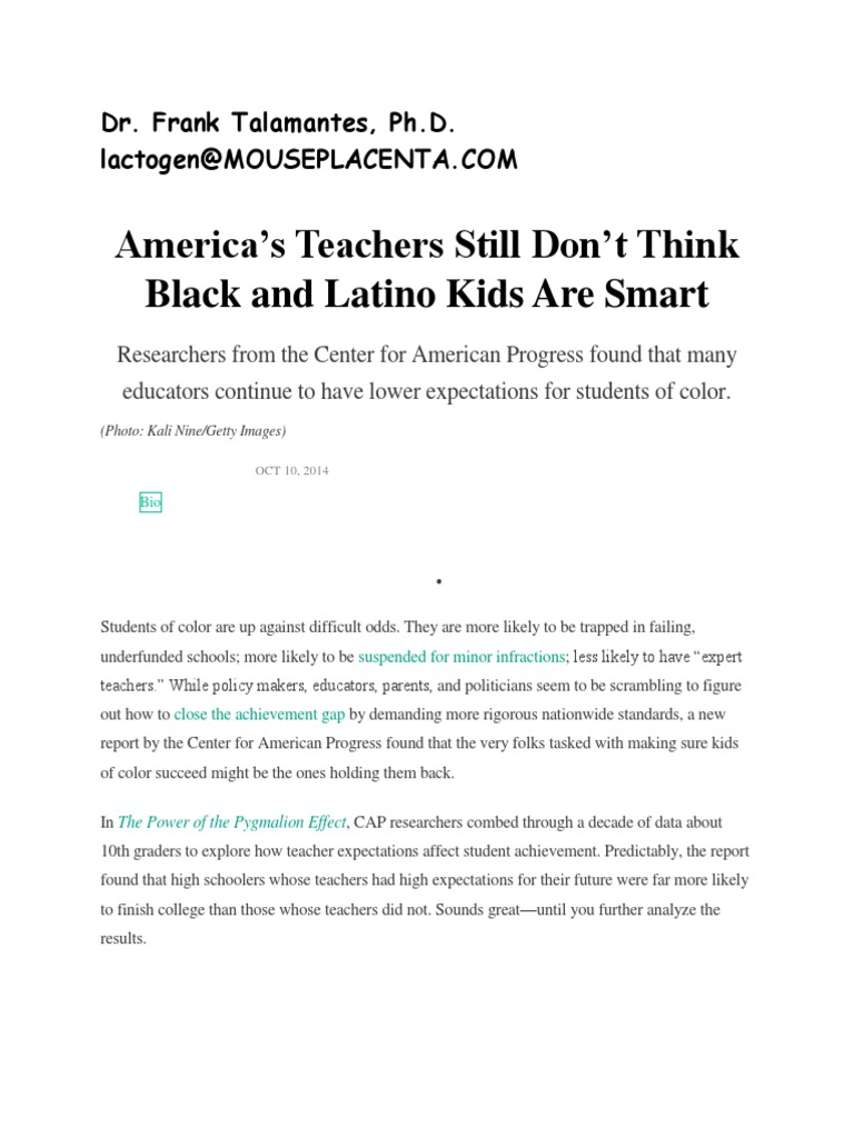 Teachers Lower Expectations For Black >> Dr Frank Talamantes Ph D Americas Teachers Still Dont Think