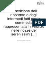 Descrizione dell' apparato e degl' intermedi fatti per la commedia rappresentata in Firenze nelle nozze de' serenissimi