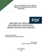 Metode de Asistare a Deciziilor in Implementarea Proiectelor Industriale