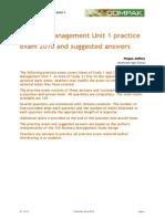 Buiness Management Unit 1 Exam 2010