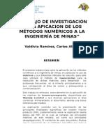 Trabajo de Investigación de La Apicacion de Los Métodos Numéricos a La Ingeniería de Minas