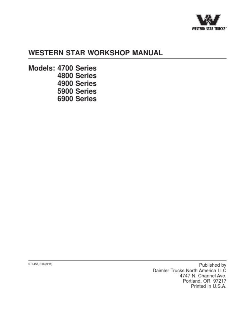 Western Star Workshop Manual on
