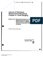 API MPMS Cap. 3 Sec. 1B - Standard Practice for Level Measurement of Liquid Hydrocarbons in Stationary Tanks by Automatic Tank Gauging (Edition 1992)