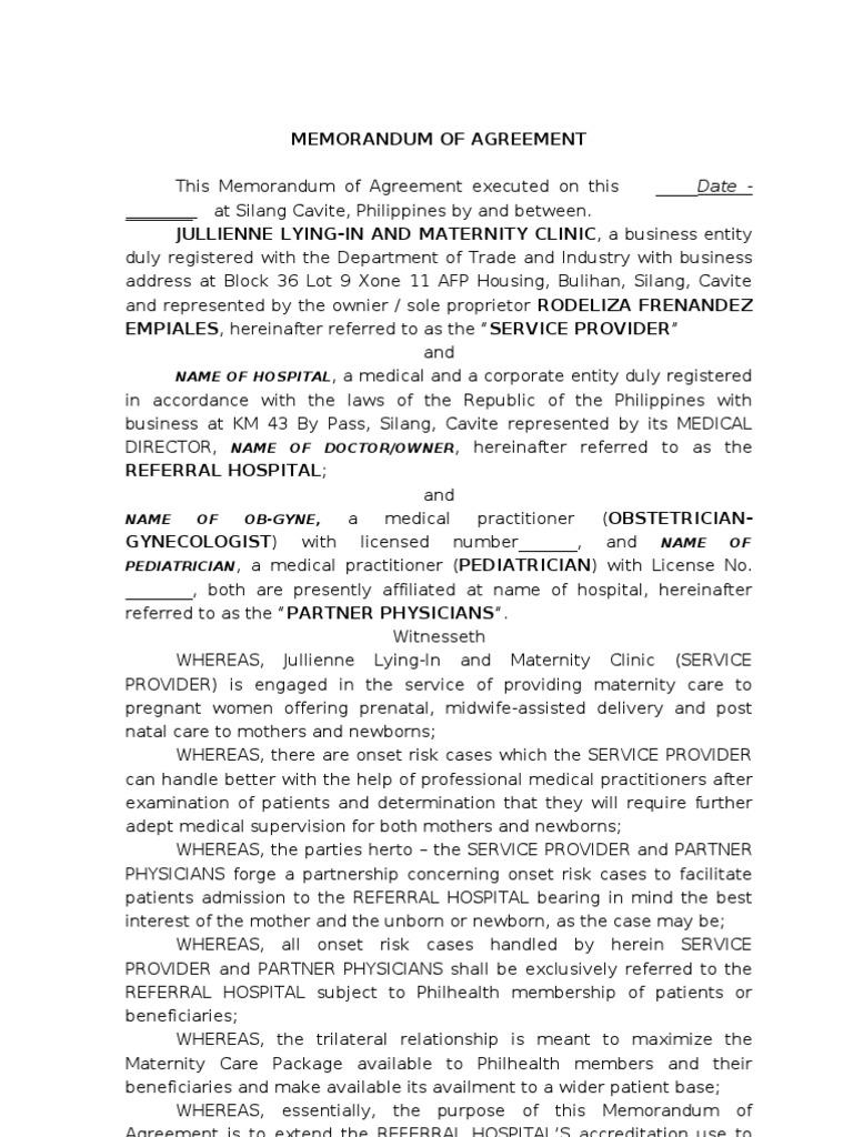 Memorandum Of Agreement Pregnancy Obstetrics