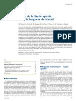 Choix de La Limite Apicale Et de La Longueur de Travail 2010