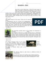Wild Animals - Testing Reading Comprehension