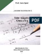 Culegere Matematica. Teste Sumative. Clasa a X-A. Vol 1