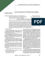 Određivanje Parametara Nd YAG Lasera Za Čišćenje Metalnih Niti Na Tekstilnim Artifaktima