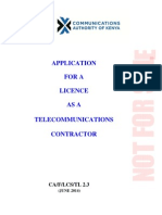 Application for Telecommunications Contractors Licence- Form TL- 2.3(1)