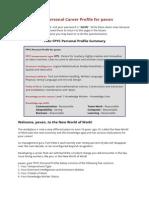 FPYC Personal Career eProfile for Pavan