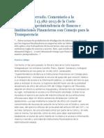 Comentario a La Sentencia Rol 13.182-2f013 de La Corte Suprema, Superintendencia de Bancos e Instituciones Financieras Con Consejo Para La Transparencia