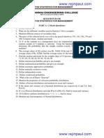 BA7102 Statistics for Management Question Paper