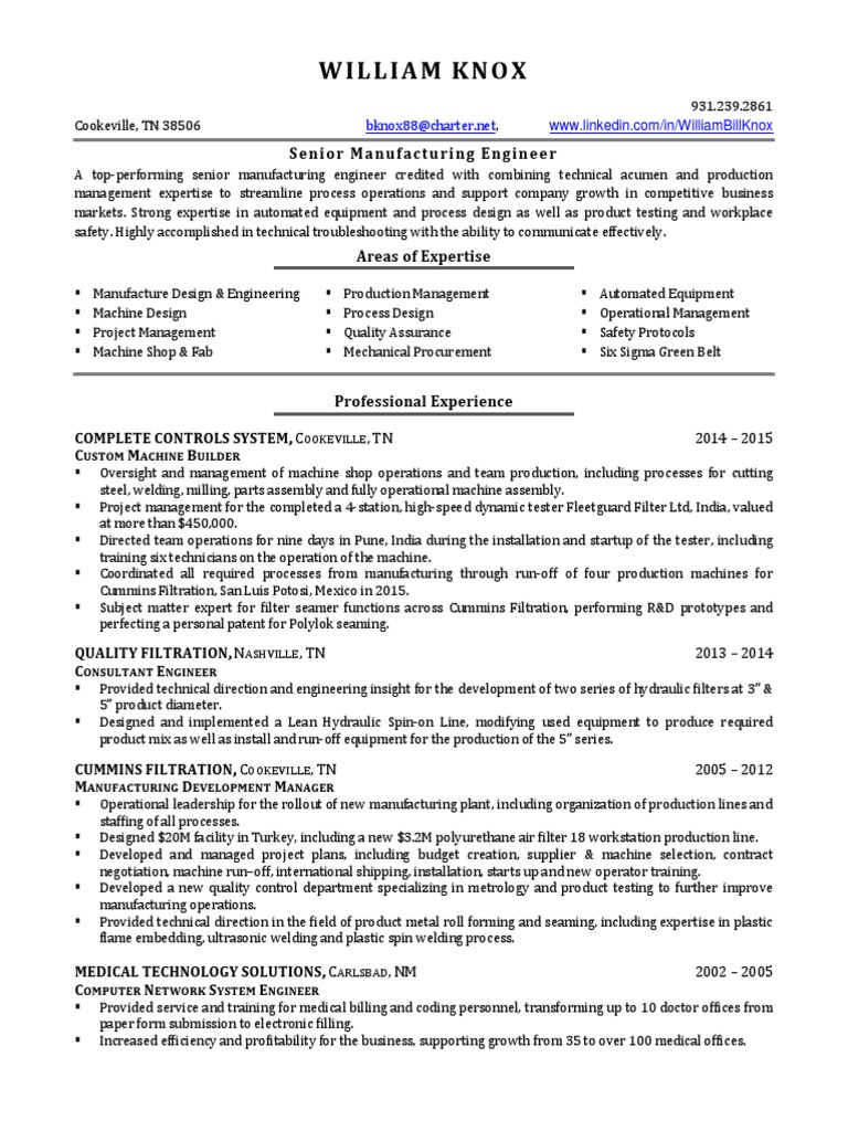 Manufacturing Project Manager Engineer in Nashville TN