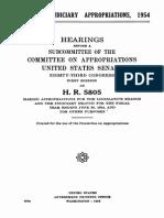 Senate Legislative Appropriations Hearing 1954