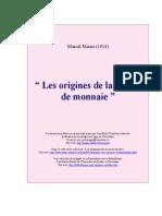 Origen de la noción de moneda (en francés)