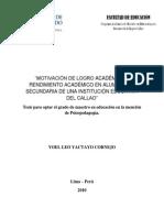 2010 Yactayo Motivación de Logro Académico y Rendimiento Académico en Alumnos de Secundaria de Una Institución Educativa Del Callao