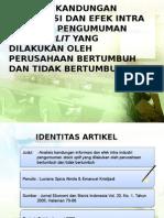 Analisis Kandungan Informasi Dan Efek Intra Industri Pengumuman