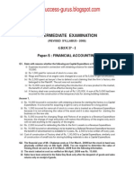 Paper-5 Financial Accounting REVISIONARY TEST PAPER(RTP) for INTERMEDIATE DECEMBER 2009 TERM OF EXAMINATION