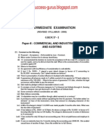 Paper-6 Commercial and Industrial Law and Auditing REVISIONARY TEST PAPER(RTP) for INTERMEDIATE DECEMBER 2009 TERM OF EXAMINATION