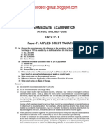 Paper-7 Applied Direct Taxation REVISIONARY TEST PAPER(RTP) for INTERMEDIATE DECEMBER 2009 TERM OF EXAMINATION