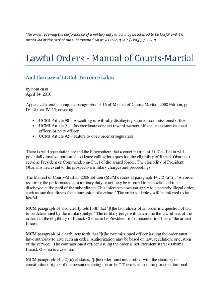 Lawful Orders - The Manual for Courts-Martial and the Case of Lt Col  Terrence Lakin | Court Martial | Assault