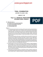 Paper-12 Financial Management & International Finance REVISIONARY TEST PAPER(RTP) for FINAL DECEMBER 2009 TERM OF EXAMINATION