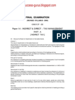 Paper-14 Indirect & Direct Tax Management REVISIONARY TEST PAPER(RTP) for FINAL DECEMBER 2009 TERM OF EXAMINATION