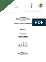 """Sociologia Juridica - """"Origen y Desarrollo de la Sociedad"""""""