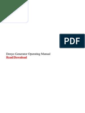 Denyo Generator Operating Manual | Electric Generator | Diesel Engine