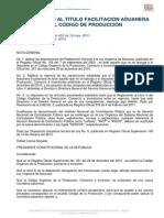 REGLAMENTO AL TITULO FACILITACION ADUANERA DEL CODIGO DE PRODUCCION