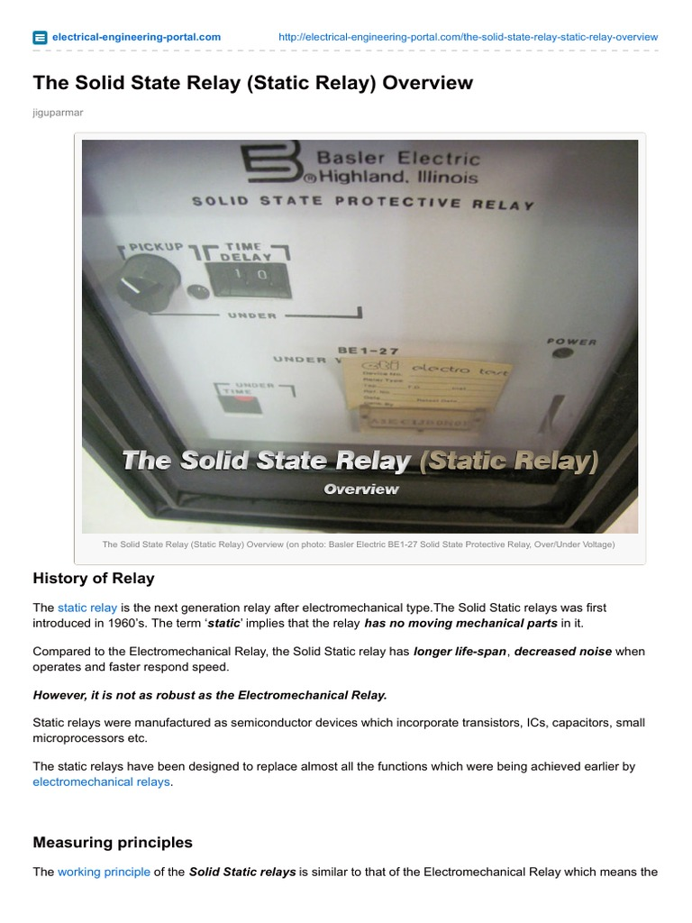 The Solid State Relay Static Relay Overview Relay Electronics