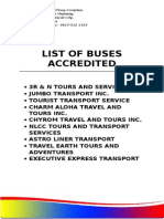 List of Buses Accredited