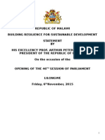 He Address to Parliament - Opening of the 46th Session of Parliament - 6th Nov 2015