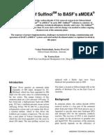 Conversion of SulfinolSM to BASF's aMDEA