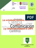 HUGO MARTIN ATOMICA CORDOBA CONFERENCIA EDUCATIVA ACTIVIDADES NUCLEARES ARGENTINAS Y LA LEY GENERAL DEL AMBIENTE - ESCUELA NORMAL SUPERIOR DALMACIO VELEZ SARSFIELD - LAS VARILLAS - PROGRAMA APOYO VINCULAR 2015 - CNEA