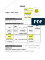 Format of Resume for  Students