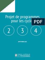 Projet de programmes 2016 pour les cycles 2, 3, 4
