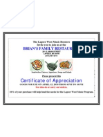 Certificate for Brian's Fundraiser