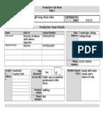 production call sheet  2